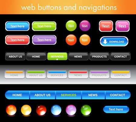 website buttons: Glossy buttons for website