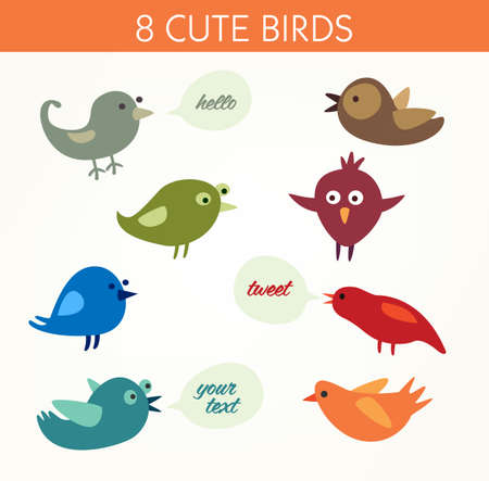 Collection of cute vector birds Illustration