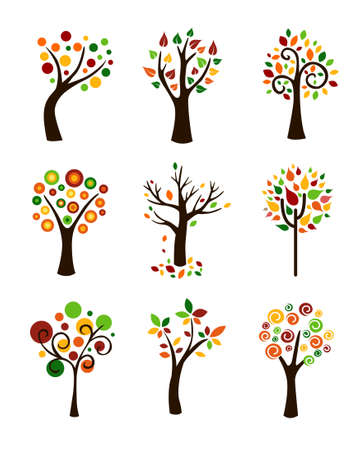 tree  forest: Collection of autumn trees