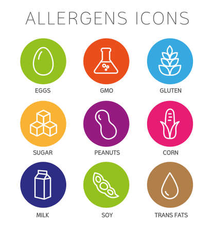 food allergy: Set of food labels - allergens, GMO free products. Illustration