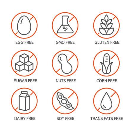 食品ラベル - アレルゲン、遺伝子組み換え作物フリー製品のセット。  イラスト・ベクター素材