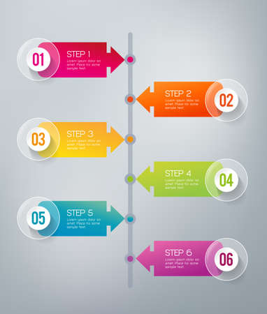 Six steps infographics - can illustrate a strategy, workflow or a timeline Ilustração Vetorial