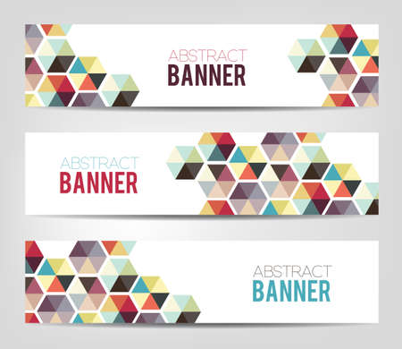 web element: Abstract geometric background - colofrul banners with geometric shapes.