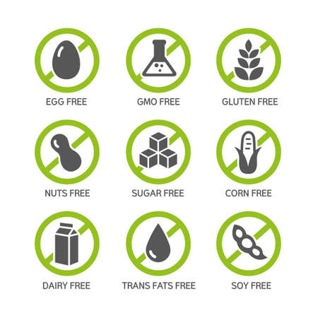 Set of food labels - allergens, GMO free products. Vettoriali