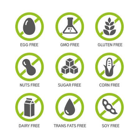 Zestaw etykiet żywności - alergeny, GMO wolna produktów. Ilustracje wektorowe