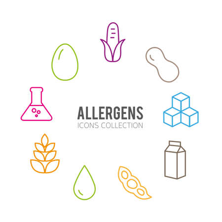 allergens: Set of food labels - allergens, GMO free products. Illustration