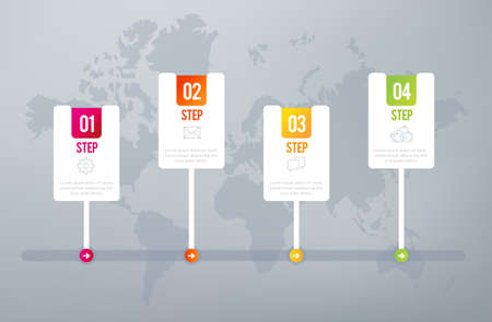 Four steps infographics - can illustrate a strategy, workflow or team work. Illustration