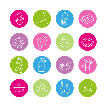 meditation stones: Collection of icons representing wellness, relaxation, cosmetics and healthy lifestyle Illustration