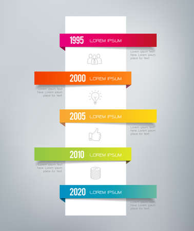 Infographic timeline. Can illustrate a strategy, a workflow, a sequence of events - in a resume, CV or presentations.