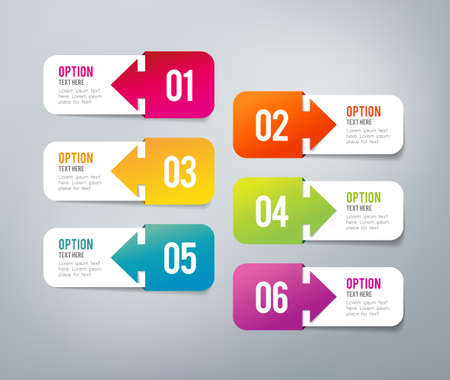Six steps infographics - can illustrate a strategy, workflow or a timeline Stock Illustratie