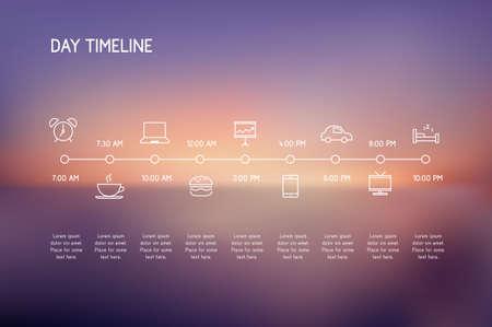 jornada de trabajo: Cronología de un día - vector iconos que representan varias acciones durante un día.