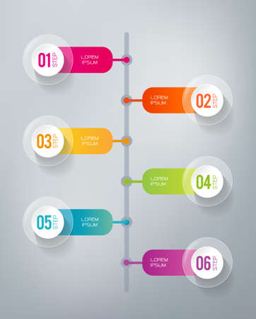 Six steps infographics - can illustrate a strategy, workflow or a timeline Vectores
