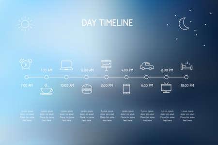 jornada de trabajo: Cronología de un día - vector iconos que representan acciones Vaus durante un día.
