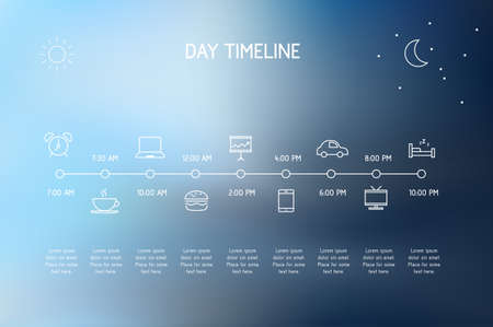 phone time: Timeline of a day - vector icons representing various actions during a day.