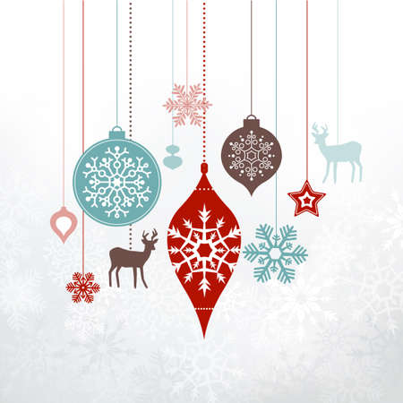 greetings card: Christmas decorations, ornaments. Silver frosty background - frozen snowlakes. Can be used as a greetings card.