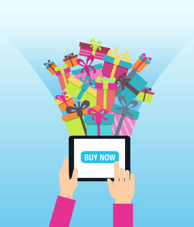 mobile marketing: Online shopping - ordering gifts online. A person using modern technology - touch screen tablet for Christmas shopping. Illustration