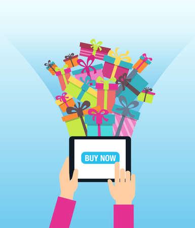 Online winkelen - het bestellen van cadeaus online. Een persoon met behulp van moderne technologie - touch screen tablet voor kerstinkopen. Vector Illustratie