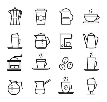 コーヒーのアイコンを設定 - 細い線設計。コーヒー カップ、ポット、コーヒー マシン。  イラスト・ベクター素材