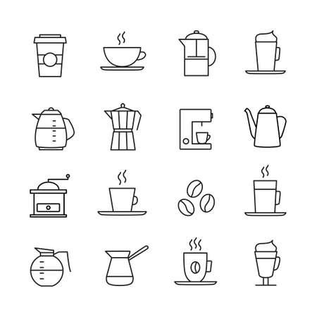 turkish dessert: Coffee icons set - thin line design. Coffee cups, pots, various coffee drinks.