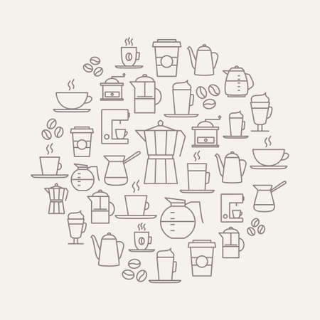 lijntekening: Koffie achtergrond gemaakt van koffie pictogrammen - dunne lijn design. Voor restaurant menu's, interieur decoraties, briefpapier, visitekaartjes, brand design, websites etc. Stock Illustratie