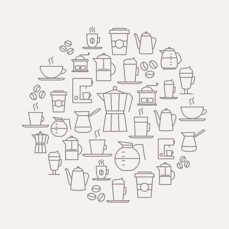 lijntekening: Koffie achtergrond gemaakt van koffie pictogrammen - dunne lijn design. Voor restaurant menu's, interieur decoraties, briefpapier, visitekaartjes, brand design, websites etc. Stock Illustratie