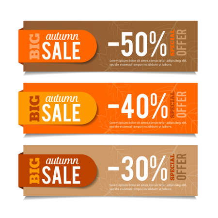 price label: Autumn sales banners, seasonal advertising, marketing events. For web or print. Vector graphic.