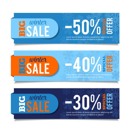 events: Winter sales banners, seasonal advertising, marketing events. For web or print. Vector graphic.