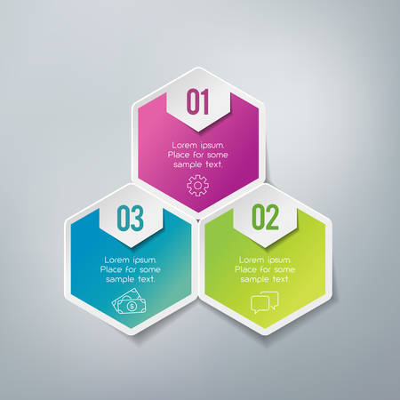 steps: Three steps infographics - can illustrate a strategy, workflow or team work.