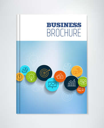 business icon: Business brochure with icons symbolizing productivity, success, management and financial growth.