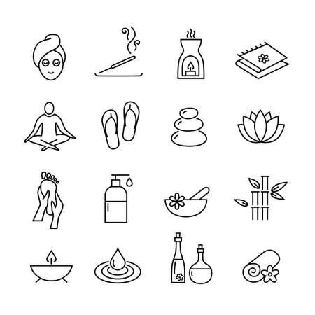 massaggio: Raccolta di icone che rappresentano benessere, relax, cosmetici e stile di vita sano