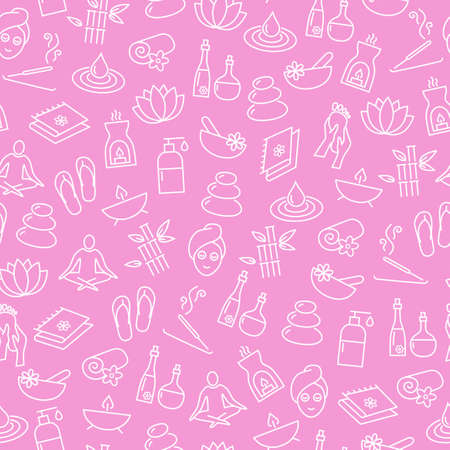 Seamless Pattern With Icons Representing Relaxation, Wellness, Healthy Lifestyle