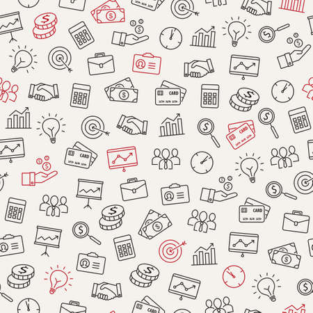 Business icons seamless pattern - can be used to illustrate management, productivity, success, financial growth. Ilustração