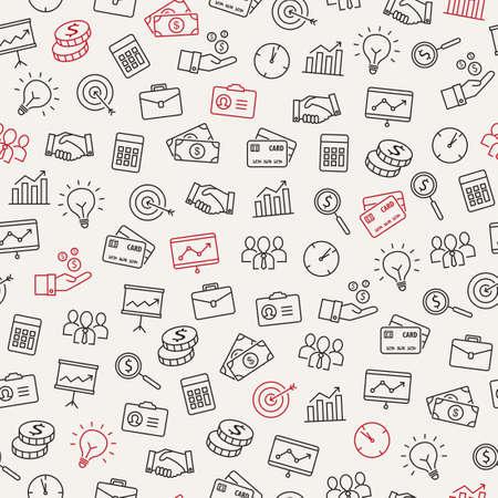 Iconos de negocio sin patrón - se puede utilizar para ilustrar la gestión, la productividad, el éxito, el crecimiento financiero. Ilustración de vector