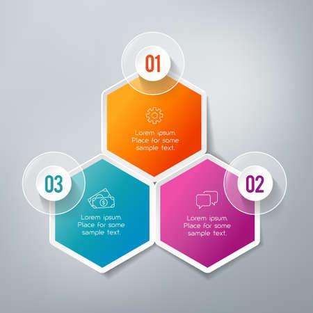 3 つのステップのインフォ グラフィック - は、戦略、ワークフローまたはチームの作業を示すことができます。  イラスト・ベクター素材