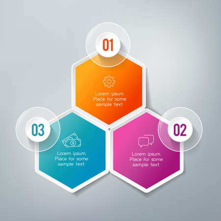 Three steps infographics - can illustrate a strategy, workflow or team work.