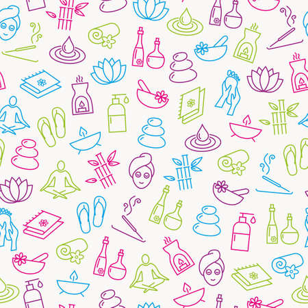 beauty woman: Seamless Pattern With Icons Representing Relaxation, Wellness, Healthy Lifestyle