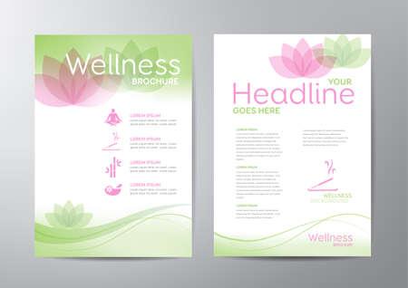 brochure: Modelo del folleto del bienestar - para la relajación, la salud, temas médicos. Vectores