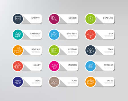 Collection of business icons - stickers for infographics chart or any web or print design. Modern, flat design style.