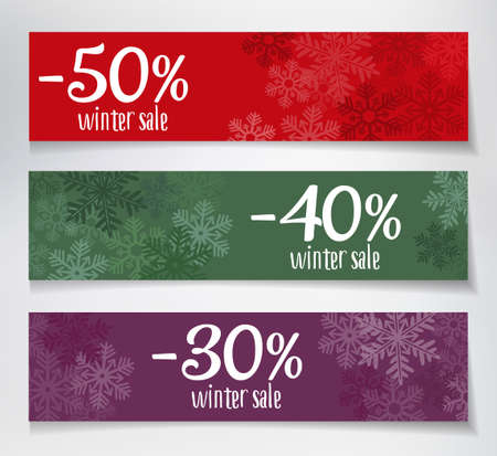 winter sales: Three winter sales banners with snowflakes