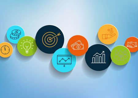 Fond d'affaires avec des icônes dans un style design plat. Peut être utilisé pour illustrer des sujets d'affaires, productivité, gestion, réussite. Banque d'images - 50372262
