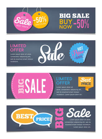 販売バナー広告デザイン - は、販売イベント、買い物、お金の節約を示すことができます。フラットなデザイン スタイル。