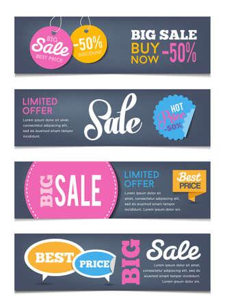 De verkoop banners design - kan illustreren sales evenementen, winkelen, geld besparen. Platte design stijl.