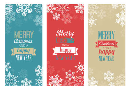 ornament paper: Three vintage Christmas greetings cards for web or print Illustration