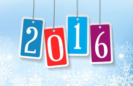 nombres: 2016 Nouvel An carte de voeux avec quatre autocollants color�s Illustration