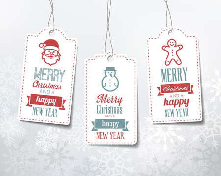 snowman: Christmas labels - decorations on a snowy winter background. Can be used as name tags for gifts.
