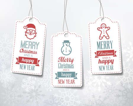 bonhomme de neige: �tiquettes de No�l - d�corations sur un fond d'hiver enneig�. Peut �tre utilis� en tant que balises de nom pour les cadeaux. Illustration
