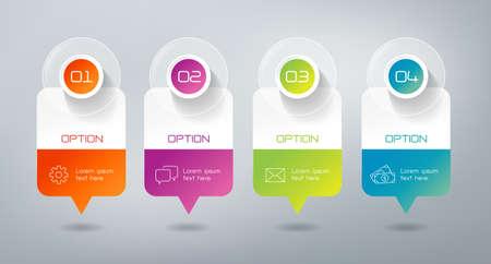cronogramas: Cuatro pasos infografía - pueden ilustrar una estrategia de trabajo, flujo de trabajo o equipo. Vectores