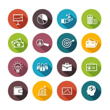 Business icons symbolizing productivity, team work, human resources, management. Flat design style.