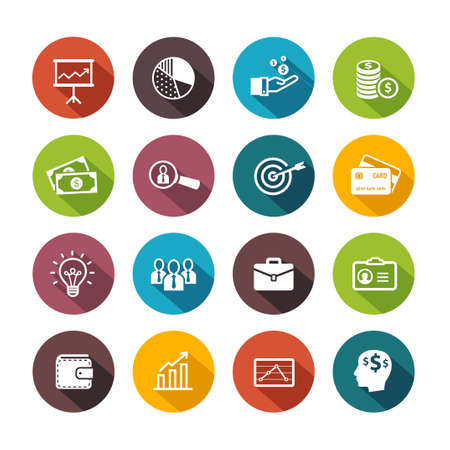 Business icons symbolizing productivity, team work, human resources, management. Flat design style.