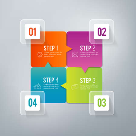 Four steps infographics - can illustrate a strategy, workflow or team work.  イラスト・ベクター素材